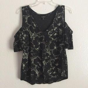Lucky Brand Black Floral Open Shoulder Blouse M 👚